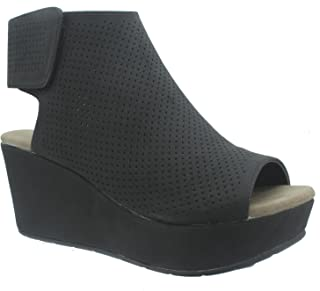Natural-2 Women's Perforated Platform Wedge Peep Toe Ankle Bootie