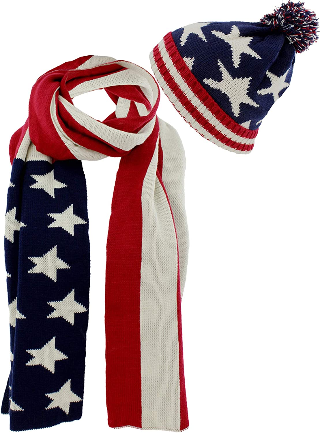 American Flag Knit Red White bluee Scarf and Beanie Hat Set