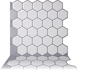 Tic Tac Tiles Peel and Stick Self Adhesive Removable Stick On Kitchen Backsplash Bathroom 3D Wall Tiles in Hexa Mono White (5 Sheets)