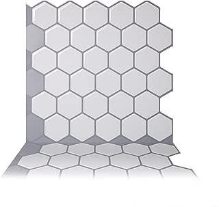 Tic Tac Tiles 10-Sheet Peel and Stick Self Adhesive Removable Stick On Kitchen Backsplash Bathroom 3D Wall Sticker Wallpaper Tiles in Hexa Mono White