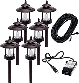 6 Pack Westinghouse 100 Lumen Low Voltage LED Pathway Light Landscape Kit w/Transformer & Cable (Bronze)