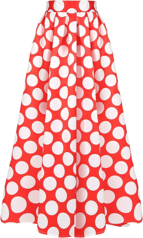 HOTOUCH Women's Polka Dot Printed Maxi Skirt Pockets High Waist
