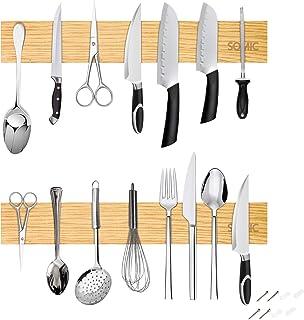 Barre Aimantée pour Couteaux Magnetique Murale Bois Bambou De Cuisine Etagère sans Vis Support Knife Holder 40cm 2Pcs