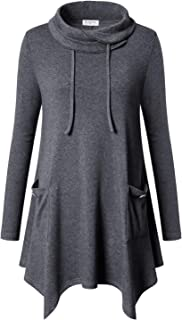 Bulotus Women's Long Sleeve Cowl Neck Asymmetrical Hem Tunic Tops with Pockets