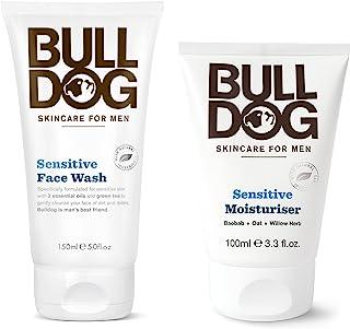 Bulldog Skincare Sensitive Face Wash and Moisturizer For Men With 2 Essential Oils, Green Tea, Green Algae, Konjac Mannan ...
