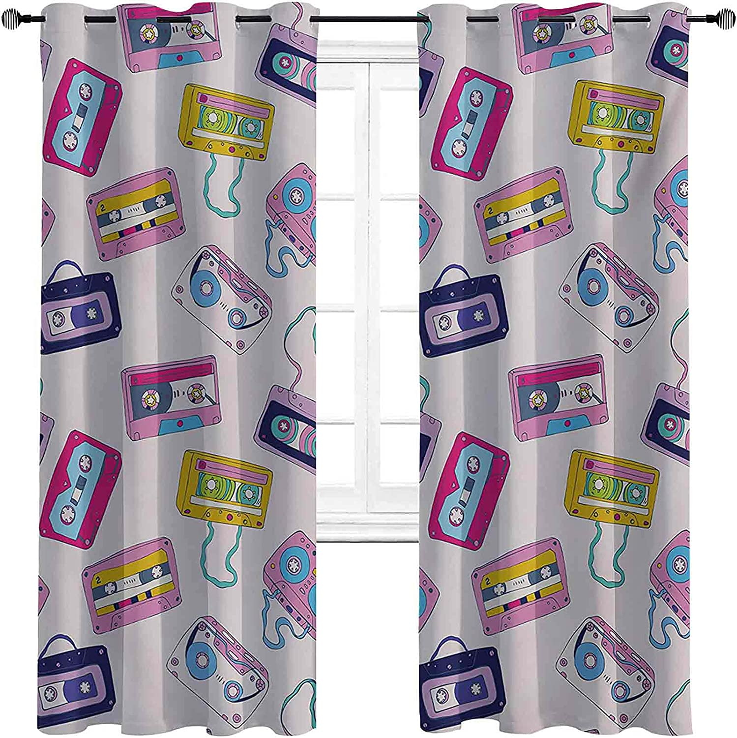 90s Blackout Inventory cleanup selling sale OFFicial Curtains with Grommets Pattern Cassette darken of