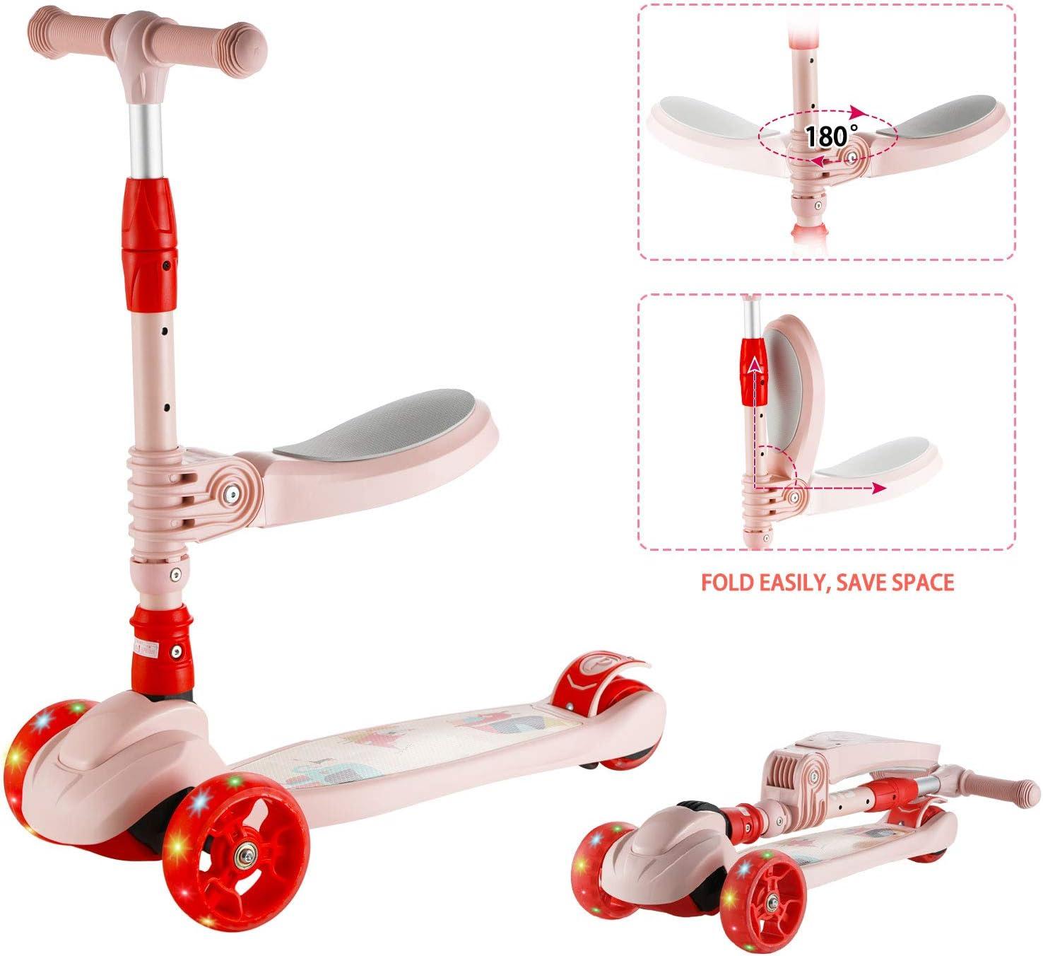 Scooter para Ni/ños Rosado Altura Ajustable para Ni/ñas y Ni/ños de 3 a 12 A/ños Arkmiido 3 en 1 Patinete para Ni/ños con Asiento Plegable y Extra/íble 3 Ruedas de Luz LED