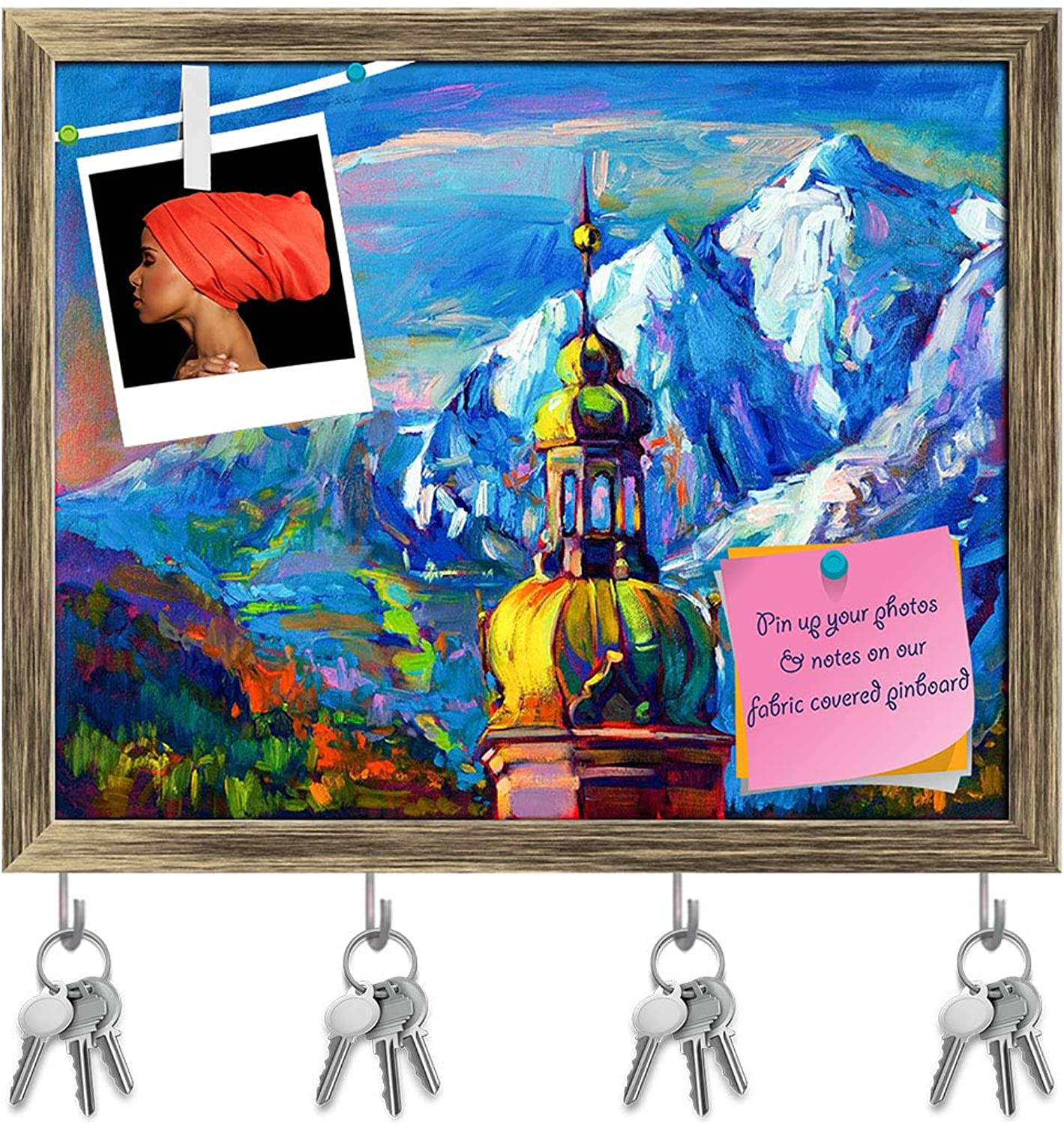 Artzfolio Artwork of Church in Front of Mountain Landscape Key Holder Hooks   Notice Pin Board   Antique golden Frame 19.8 X 16Inch