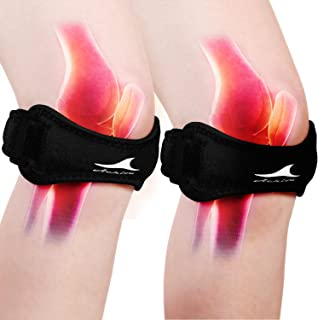 تسمه تسکین دهنده درد زانو Achiou 2 Pack ، تسمه پشتیبانی تاندون Patellar با باند قابل تنظیم سیلیکون ، استیلایزر بریس برای بدنسازی ، دویدن ، پیاده روی ، وزنه برداری ، بسکتبال ، والیبال ، جامپر