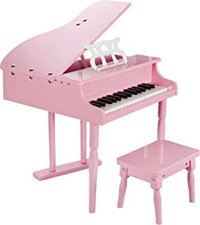 Smartxchoices Newest 30-Key Pink Baby Grand Piano Toy Set for Kids Children with w/ Stool Bench Solid Wood …