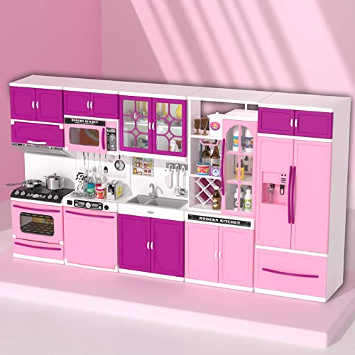 """wholesale TEMI Kitchen Playset 56 PCS Kitchen Set for Kids Girls Pink Kitchen Play high quality Set lowest Accessories 5-in-1 Mini Kitchen with Lights & Sounds, Perfect for 11-12"""" Dolls online sale"""