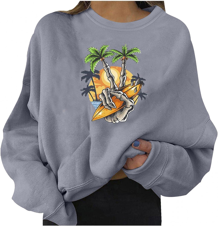 UQGHQO Halloween Shirts for Women, Women Casual Long Sleeve Skeleton Print Loose Tops Teen Girls Halloween Sweatshirt
