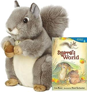 """Aurora World Miyoni Grey Squirrel 8"""" Plush Gift Set with Squirrel's World Book"""
