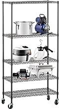 SUNCOO 5 Tier Strengthen Commercial Adjustable Steel Wire Shelf Unit with Stiffeners with Wheels Wire Shelves Storage Racks Kitchen Garage¡