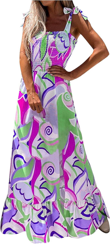 JIOAKFA Women Boho Floral Print Maxi Dress Casual Adjustable Sling Tube Top Dress Sleeveess Ruffle Beach Long Dress