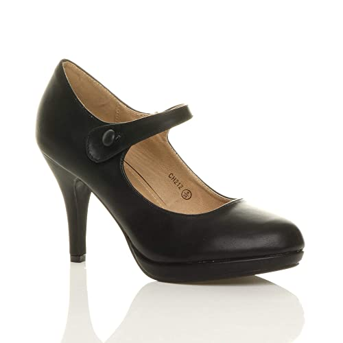 65a5f11aaf5 Ajvani Womens Ladies mid high Heel Mary Jane Evening Work Platform Court  Shoes