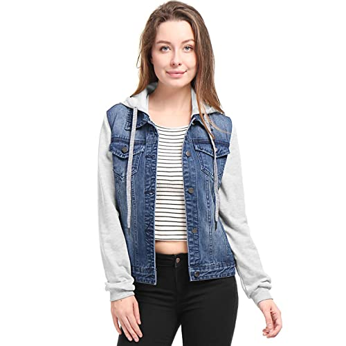 0dbb0510833b Allegra K Women's Layered Drawstring Hood Denim Jacket w Pockets