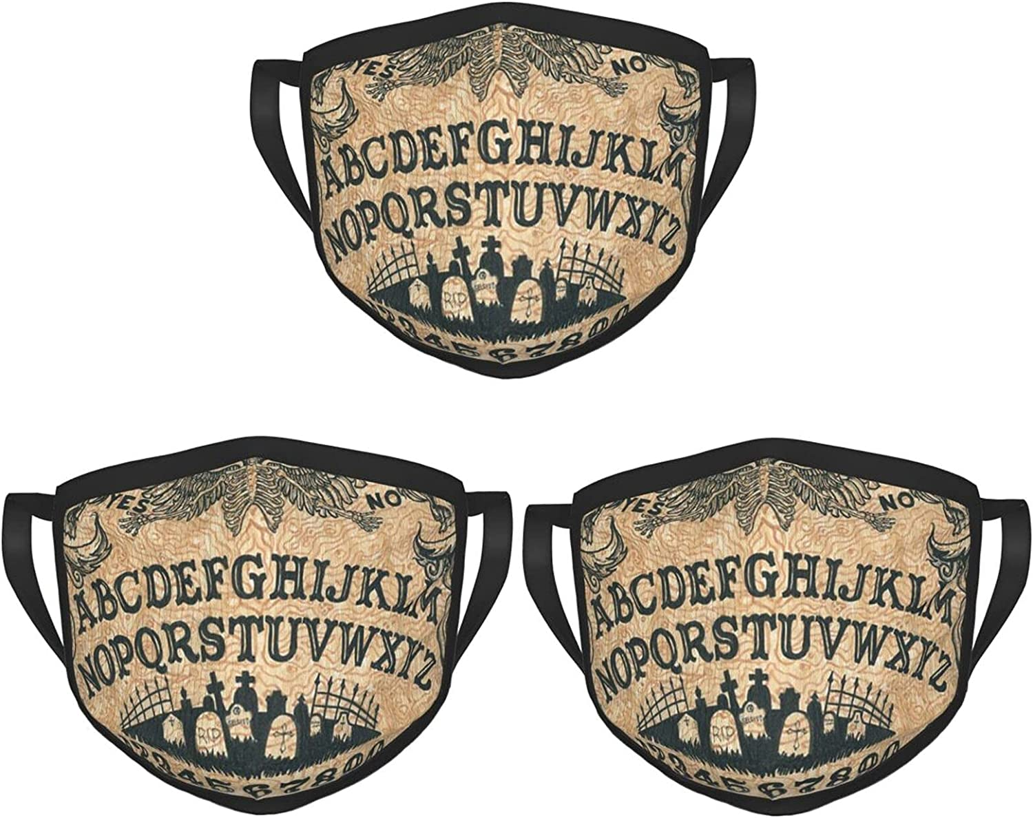 Balaclava Earmuffs Vintage Ouija Board Skulls Crossbones Witch Face Mouth Cover Mask Reusable Windproof Scarf Towel Cover Headwrap