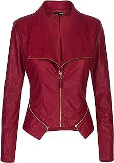 3a0638ab94b1d Instar Mode Women s Long Sleeve Zipper Closure Moto Biker Faux Leather Suede  Jacket