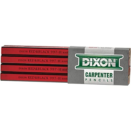 "DIXON Industrial Carpenter Pencils, Hard Graphite Core, Red/Black, 7"", 12-Pack (19973)"