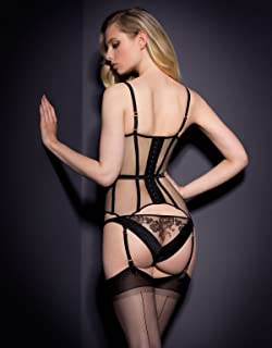 35756c28e Dioni Tabbers-Agent Provocateur Black Sheer Lingerie with Black Stockings  From Back Mid Photo 8