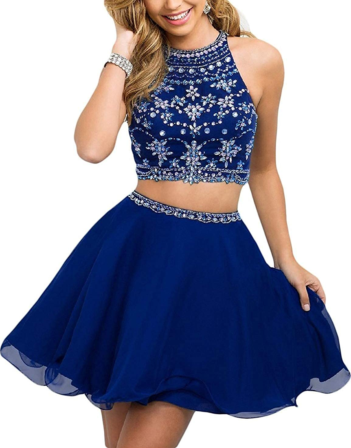WanFubridal Women's Halter Beading Homecoming Dresses Two Piece Pleated Cocktail Prom Gowns Short