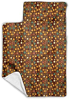 Moon Toddler Nap Mat-Includes Pillow & Fleece Blanket-Soft Microfiber Children Sleeping Bag-Human Faces Cute Cloud-Soft, Lightweight,Ages 2-4 Years