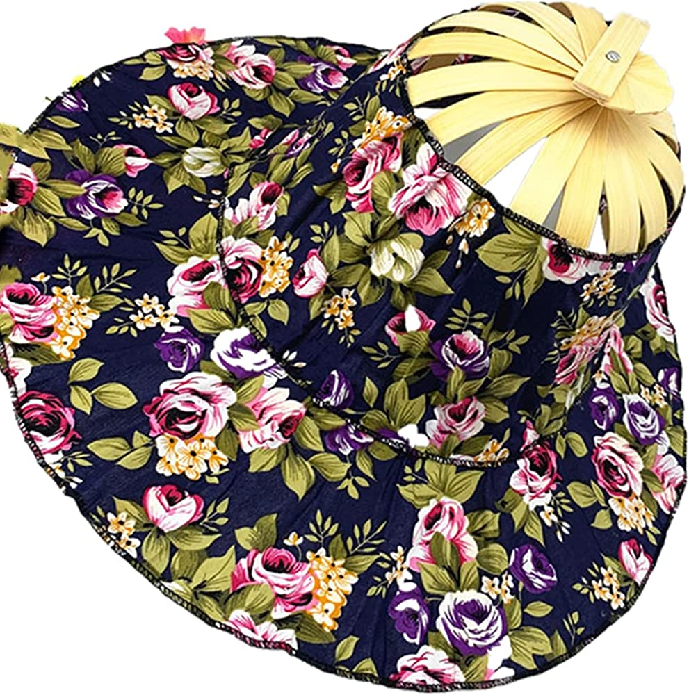 Sttech1 Bamboo Foldable Hand Fan Sun Hat Printed Bamboo Cap Adjustable Hat Chinese Style Sun Floral Cap Handheld Folding Fan