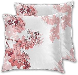 ALLMILL Juego de 2 Decorativo Funda de Cojín, Flor de Sakura en flor con acuarelas Elementos de la naturaleza de primavera chino Funda de Almohada Cuadrado para Sofá Cama Decoración para Hogar,45x45cm