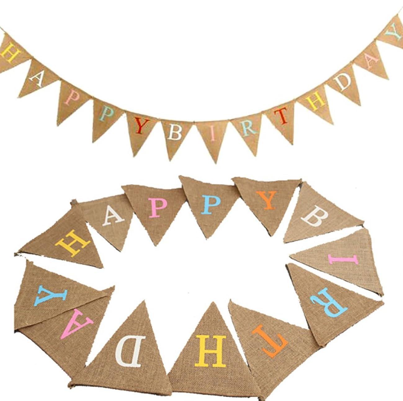 wellin international Happy Birthday Party Burlap Banner, Bunting Pennant, Party Decor Supplier (Multicolor Happy Birthday Banner)
