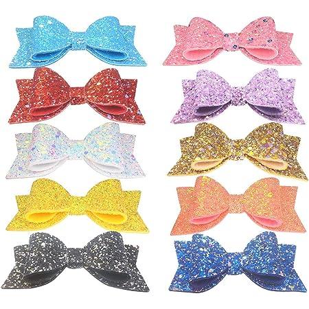 White Chunky Glitter Bow Headband or Hair Clip ~ 3 Sizes ~ Newborn  Baby  Toddler Girls  Adult