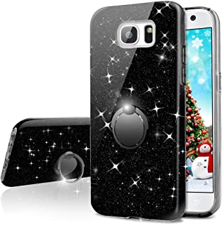Galaxy S6 Case,Silverback Girls Bling Glitter Sparkle Cute Phone Case with 360 Rotating Ring Stand, Soft TPU Outer Cover + Hard PC Inner Shell Skin for Samsung Galaxy S6 -Black