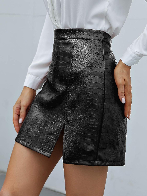 Milumia Women Elegant PU Leather Short Skirt Split Hem Zip Back Solid Mini Skirt