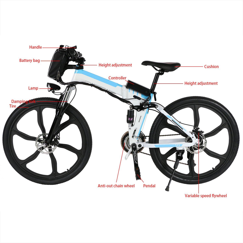 ZOKEO 26 Pulgadas montaña Plegable Bicicleta eléctrica híbrida ...