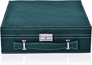 Forest Green Velvety Briefcase Style 2-Tier Jewelry Organizer Box Storage with Anti-Tarnish and Scratch Protection Interior Approx 60 Rings