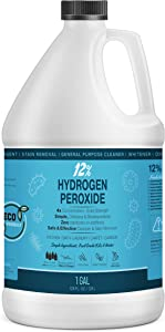 12% Hydrogen Peroxide Solution - 1 Gallon (Just Food-Grade H2O2 & Water!) - Ecofriendly Natural Cleaning Solution for Kitchen, Bath, Laundry, and Home - HDPE Jug with Child-Safe Cap Made in USA