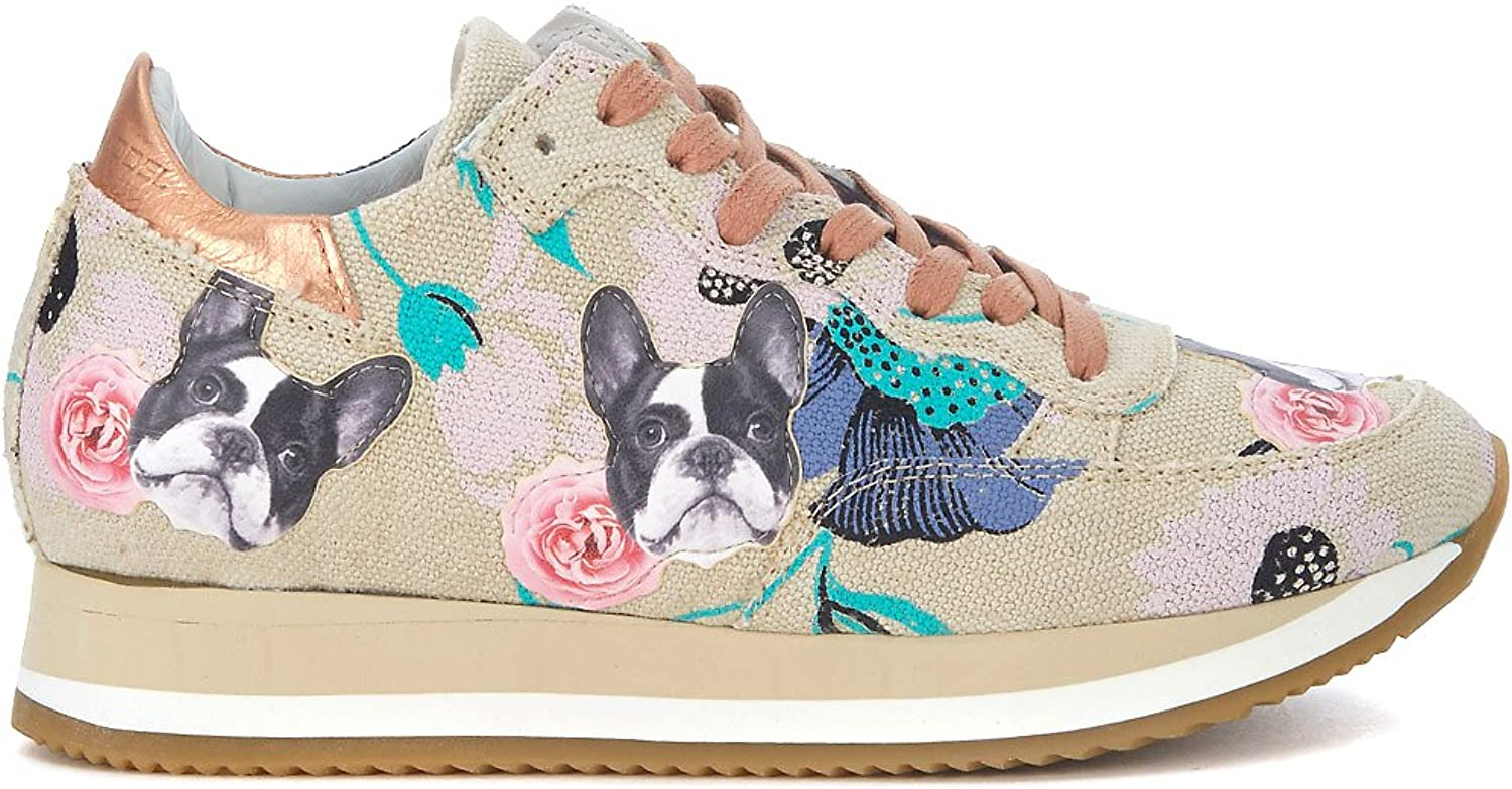 PHILIPPE MODEL Woman's Etoile Beige Sneaker with Flowers and Dogs