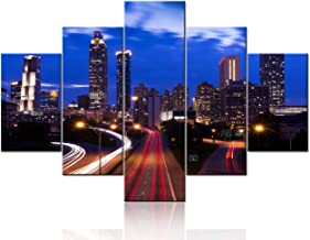 Atlanta Downtown Night Skyline Wall Art Cityscape Pictures for Living Room Georgia,USA Paintings 5 Pcs/Multi Panel Canvas Landscape Artwork Home Decor Giclee Wooden Framed Ready to Hang(60''Wx40''H)
