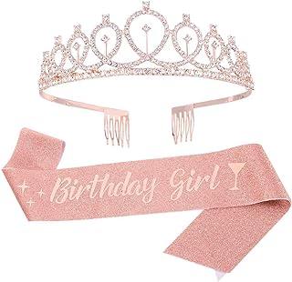 PALAY®Birthday Decorations Kit, Birthday Crown Headband Birthday Sash and Rhinestone Crown Tiara Set for Happy Birthday Gi...