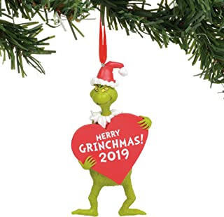 Department 56 Dr. Seuss The Grinch with Heart Dated Hanging Ornament, 4.5 Inch, Multicolor