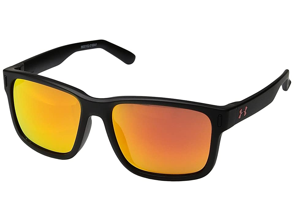 Under Armour Kids Rookie (Little Kid/Big Kid) (Satin Black Frame/Gray/Orange Multiflection Lens) Athletic Performance Sport Sunglasses