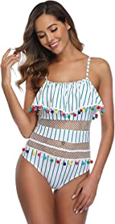 Wellwits Women's Summer Print 1pcs Net Tassel Pom Pom One Piece Swimsuit