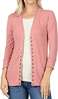 Women Classic V-Neck Button Down Long Sleeve Ribbed Thin Knit Cardigan