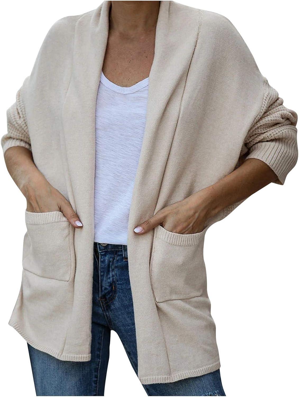 Womens Casual Long Sleeve Split Open Cardigan Knit Long Cardigan Plush Sweaters with Pockets Winter Autumn Outwear