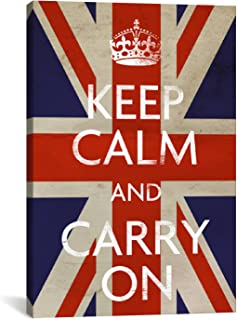 iCanvasART Keep Calm and Carry on British Flag Canvas Art Print, 26 by 18-Inch