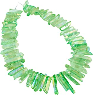 rockcloud Natural Rock Crystal Points Titanium Coated Clear Quartz Sticks Spikes Top Drilled 15 inch Strand,Light Green