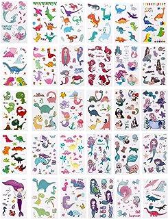 FRCOLOR 30 Pcs Tatuagens Temporárias Adesivos de Rosto de Sereia Adesivos de Dinossauros Tatuagem Corporal Animal Crianç...