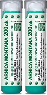 OLLOIS Arnica Montana 200ck Organic, Lactose-Free Homeopathic Medicines for Pain, Trauma, Bruising- 2 Pack, 160 Count