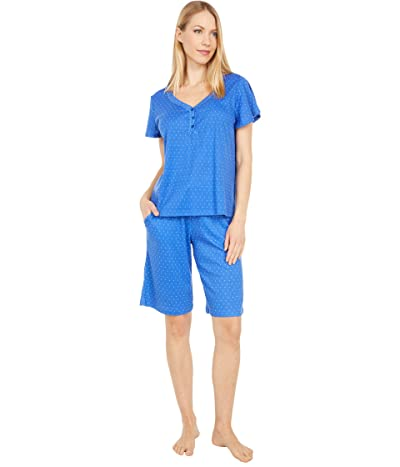 Karen Neuburger Petite China Blue Short Sleeve Bermuda Pajama (Blue Dot) Women