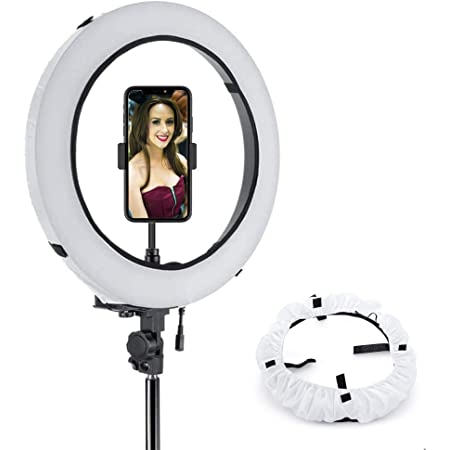 WENWELL Collapsible 18 Inch Ring Light Stand Softbox Diffuser,Circle Cover Sock for Soft Lighting in Photography and Video,Camera Phone Fluorescent Flashing led Selfie Light Accessories